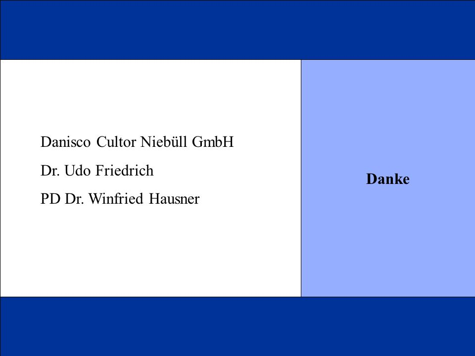 Danke Danisco Cultor Niebüll GmbH Dr. Udo Friedrich PD Dr. Winfried Hausner
