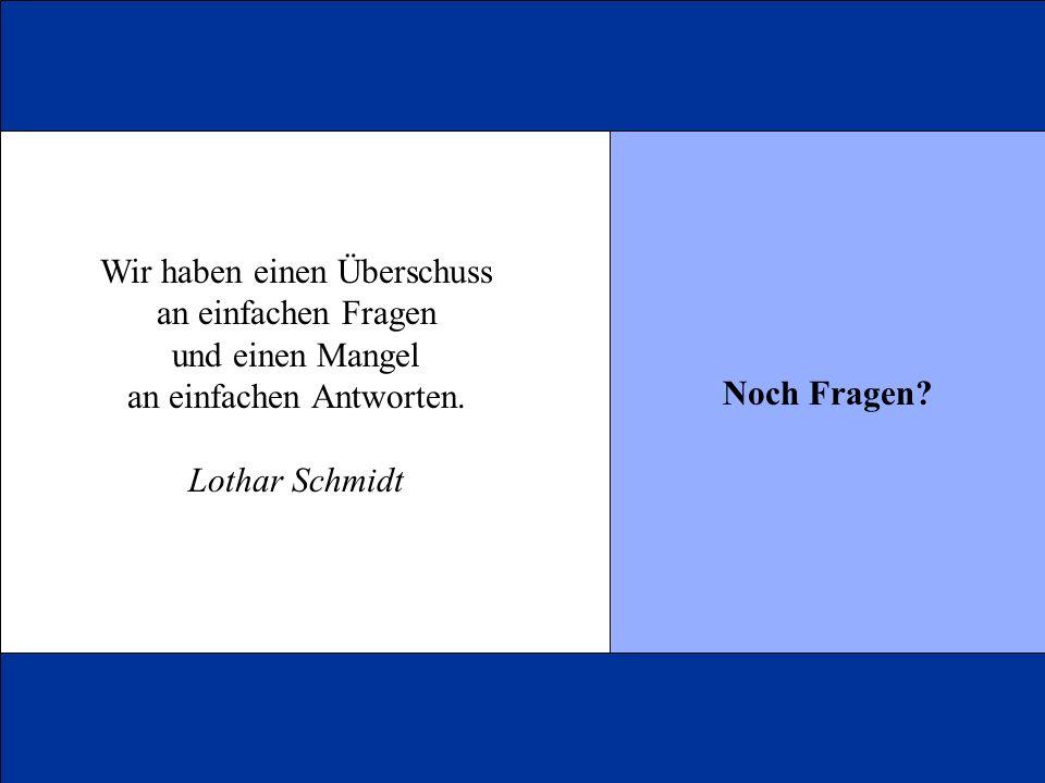 Noch Fragen? Wir haben einen Überschuss an einfachen Fragen und einen Mangel an einfachen Antworten. Lothar Schmidt