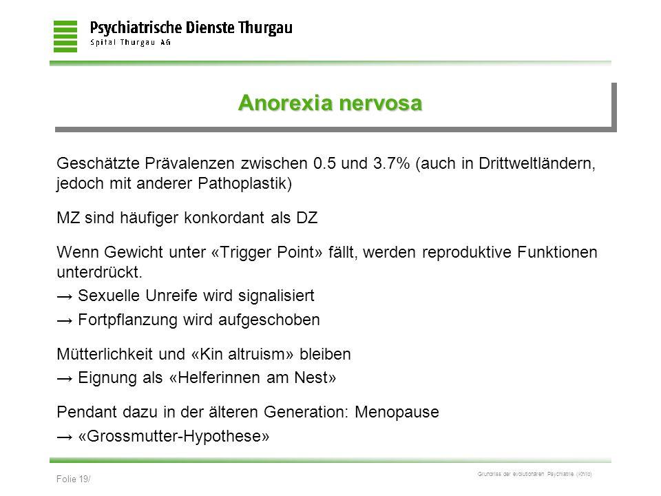 Folie 19/ Grundriss der evolutionären Psychiatrie (Kn/ib) Anorexia nervosa Geschätzte Prävalenzen zwischen 0.5 und 3.7% (auch in Drittweltländern, jed