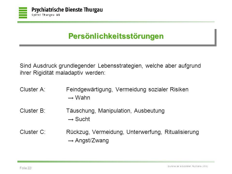 Folie 22/ Grundriss der evolutionären Psychiatrie (Kn/ib) PersönlichkeitsstörungenPersönlichkeitsstörungen Sind Ausdruck grundlegender Lebensstrategie