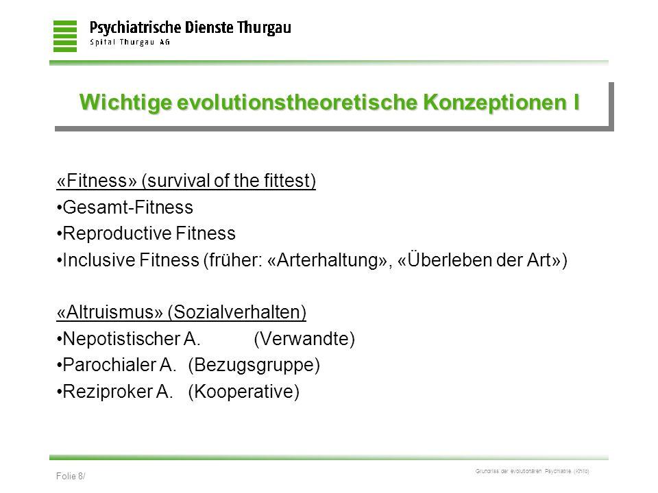 Folie 8/ Grundriss der evolutionären Psychiatrie (Kn/ib) Wichtige evolutionstheoretische Konzeptionen I «Fitness» (survival of the fittest) Gesamt-Fit