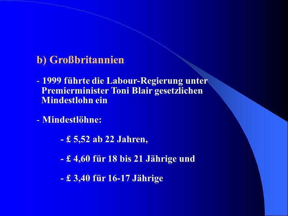 b) Großbritannien - 1999 führte die Labour-Regierung unter Premierminister Toni Blair gesetzlichen Mindestlohn ein - Mindestlöhne: - £ 5,52 ab 22 Jahr