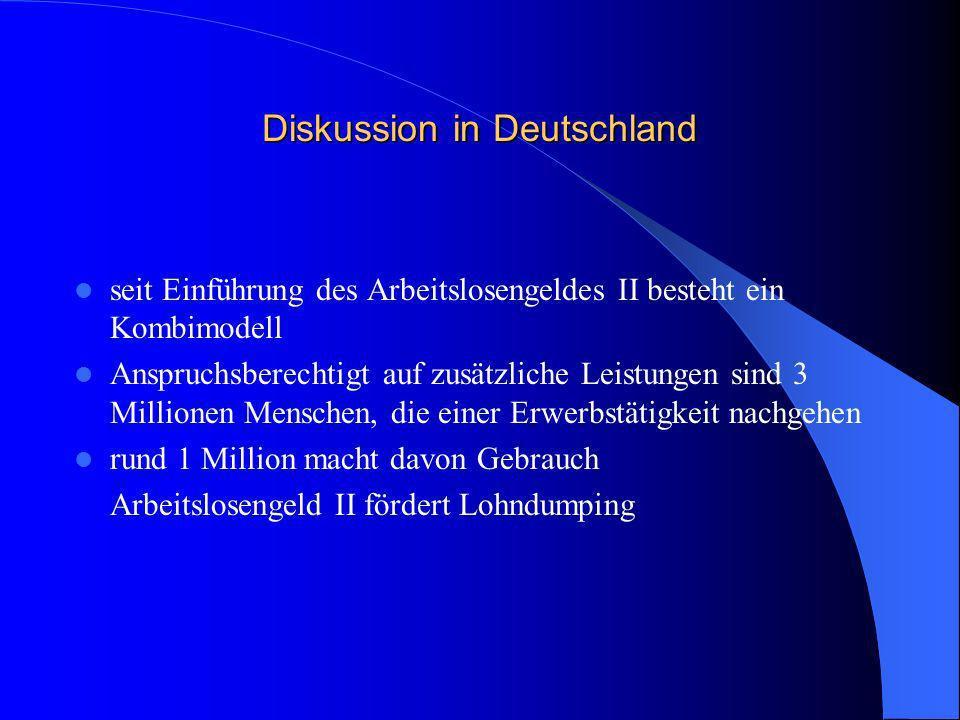 Diskussion in Deutschland seit Einführung des Arbeitslosengeldes II besteht ein Kombimodell Anspruchsberechtigt auf zusätzliche Leistungen sind 3 Mill