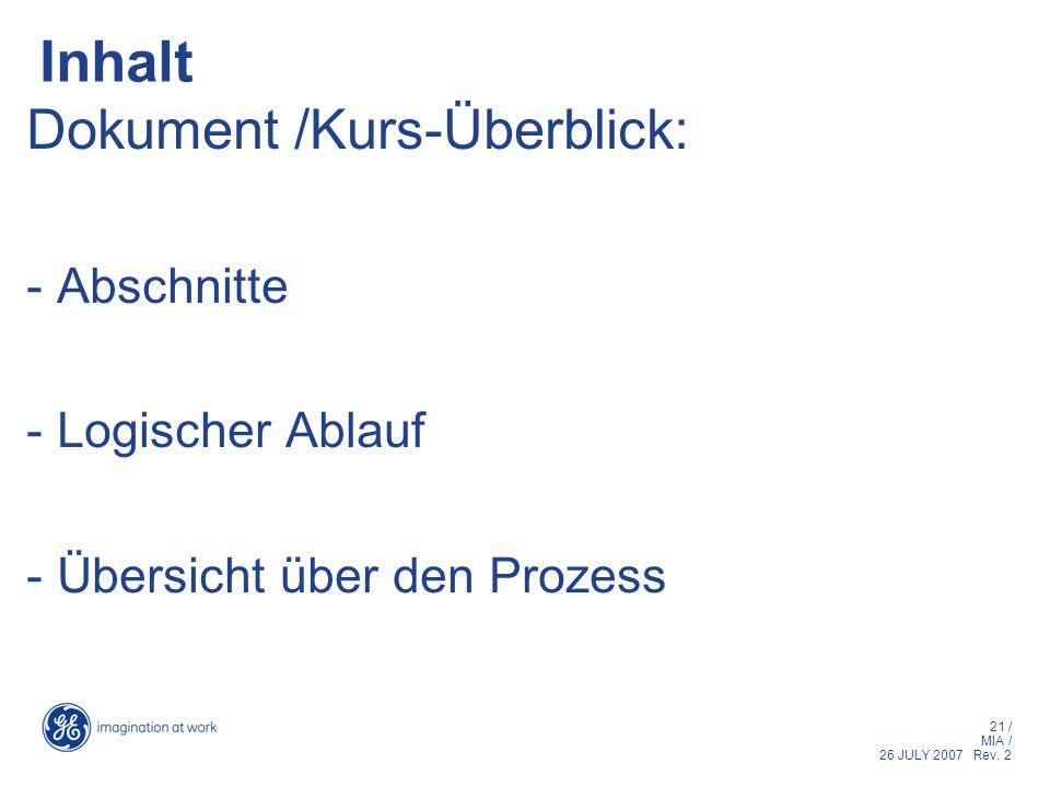 21 / MIA / 26 JULY 2007 Rev. 2 Inhalt Dokument /Kurs-Überblick: - Abschnitte - Logischer Ablauf - Übersicht über den Prozess