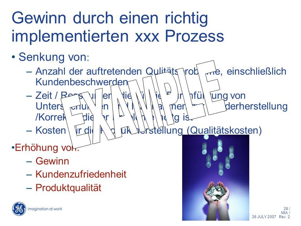 28 / MIA / 26 JULY 2007 Rev. 2 Gewinn durch einen richtig implementierten xxx Prozess Senkung von : –Anzahl der auftretenden Qulitätsprobleme, einschl