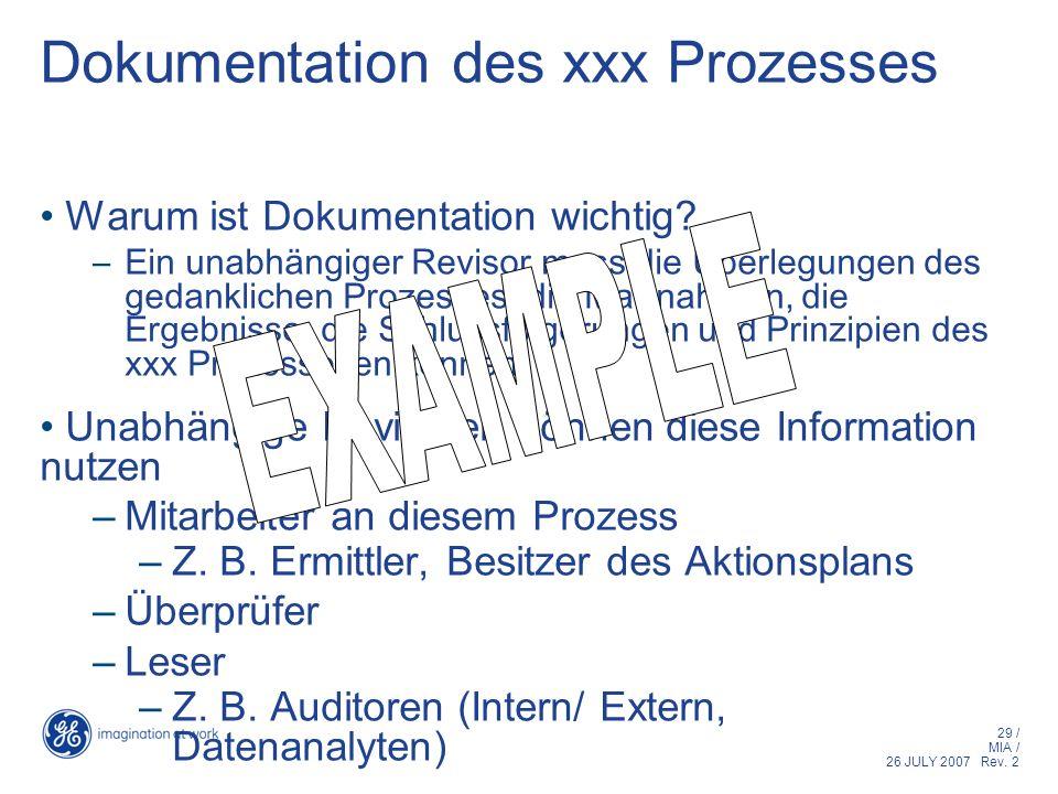 29 / MIA / 26 JULY 2007 Rev. 2 Dokumentation des xxx Prozesses Warum ist Dokumentation wichtig? –Ein unabhängiger Revisor muss die Überlegungen des ge