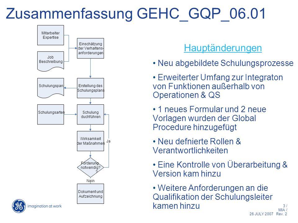 3 / MIA / 26 JULY 2007 Rev. 2 Zusammenfassung GEHC_GQP_06.01 Hauptänderungen Neu abgebildete Schulungsprozesse Erweiterter Umfang zur Integraton von F