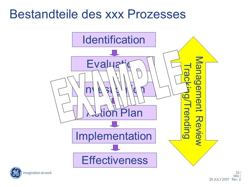 30 / MIA / 26 JULY 2007 Rev. 2 Bestandteile des xxx Prozesses Identification Evaluation Investigation Action Plan Implementation Effectiveness Managem