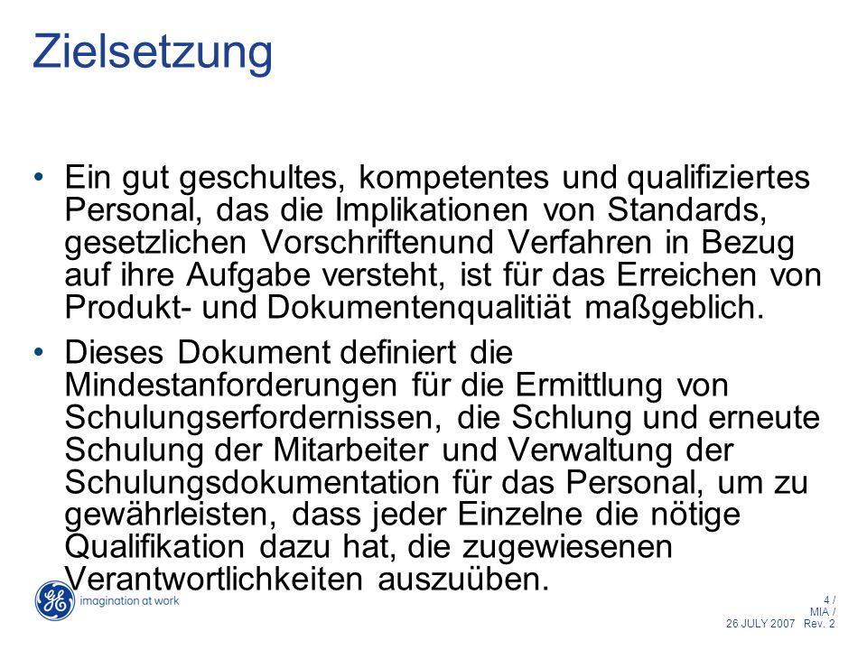 4 / MIA / 26 JULY 2007 Rev. 2 Zielsetzung Ein gut geschultes, kompetentes und qualifiziertes Personal, das die Implikationen von Standards, gesetzlich