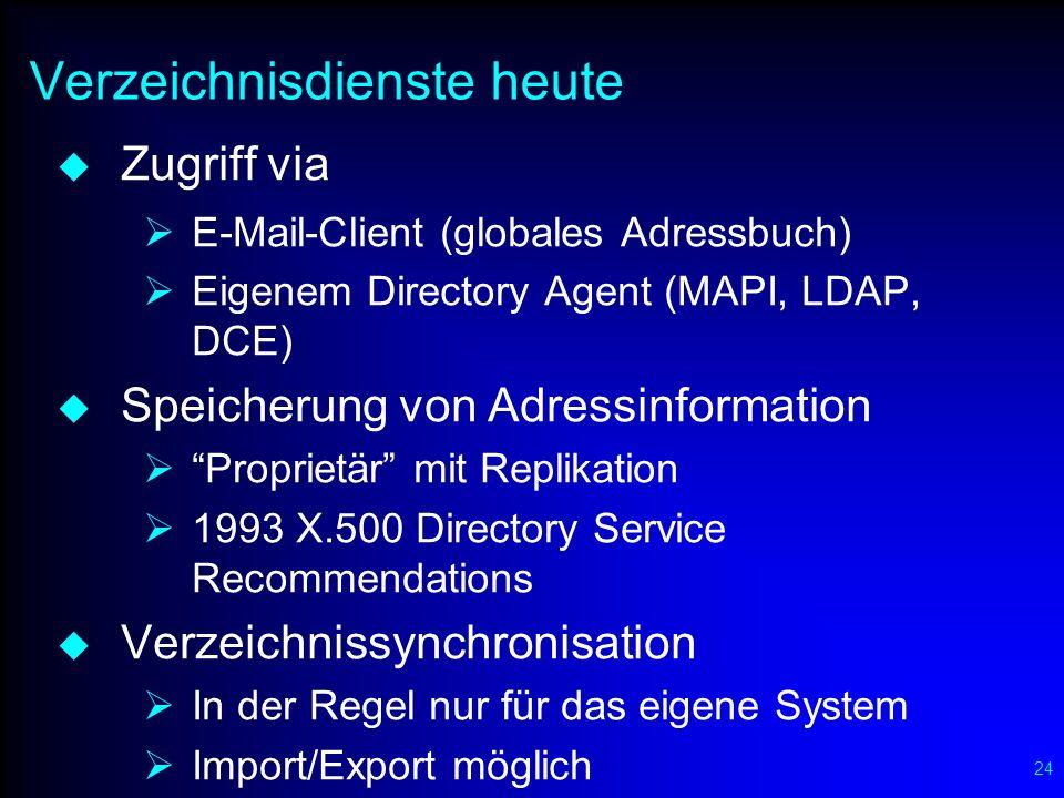 24 Verzeichnisdienste heute Zugriff via E-Mail-Client (globales Adressbuch) Eigenem Directory Agent (MAPI, LDAP, DCE) Speicherung von Adressinformatio
