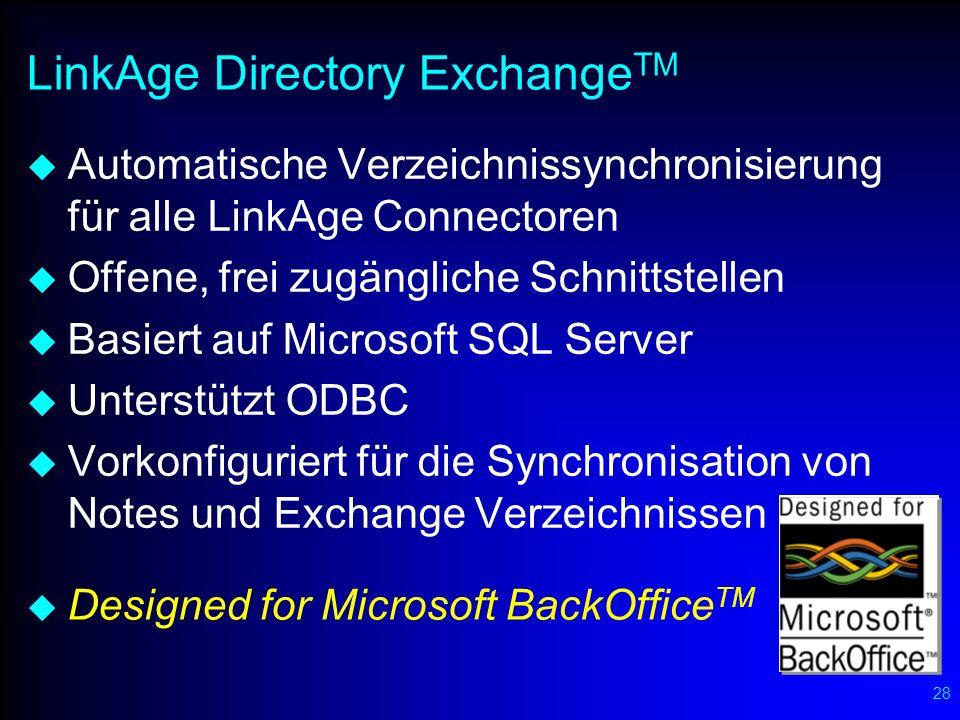 28 LinkAge Directory Exchange TM Automatische Verzeichnissynchronisierung für alle LinkAge Connectoren Offene, frei zugängliche Schnittstellen Basiert