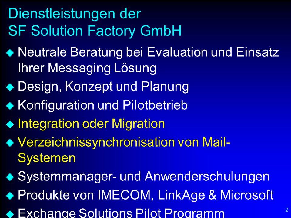 2 Dienstleistungen der SF Solution Factory GmbH Neutrale Beratung bei Evaluation und Einsatz Ihrer Messaging Lösung Design, Konzept und Planung Konfig