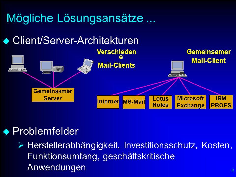 8 Mögliche Lösungsansätze... Client/Server-Architekturen Problemfelder Herstellerabhängigkeit, Investitionsschutz, Kosten, Funktionsumfang, geschäftsk