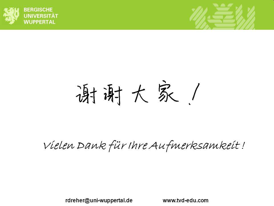 rdreher@uni-wuppertal.de www.tvd-edu.com Vielen Dank für Ihre Aufmerksamkeit !