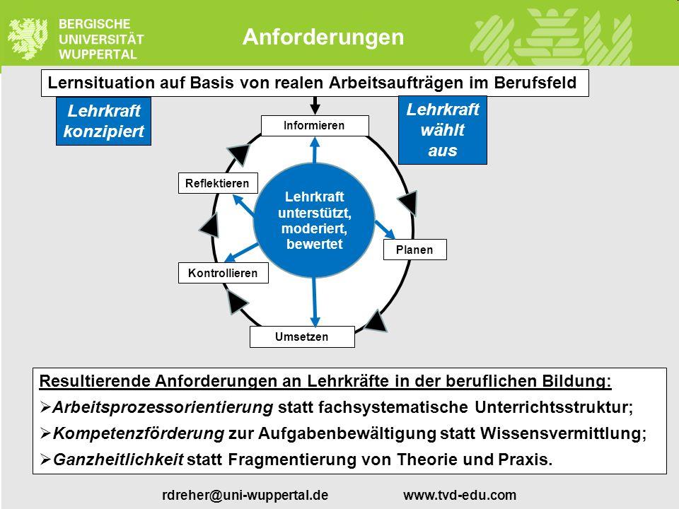 rdreher@uni-wuppertal.de www.tvd-edu.com 8 Merkmale guter Lehrerarbeit