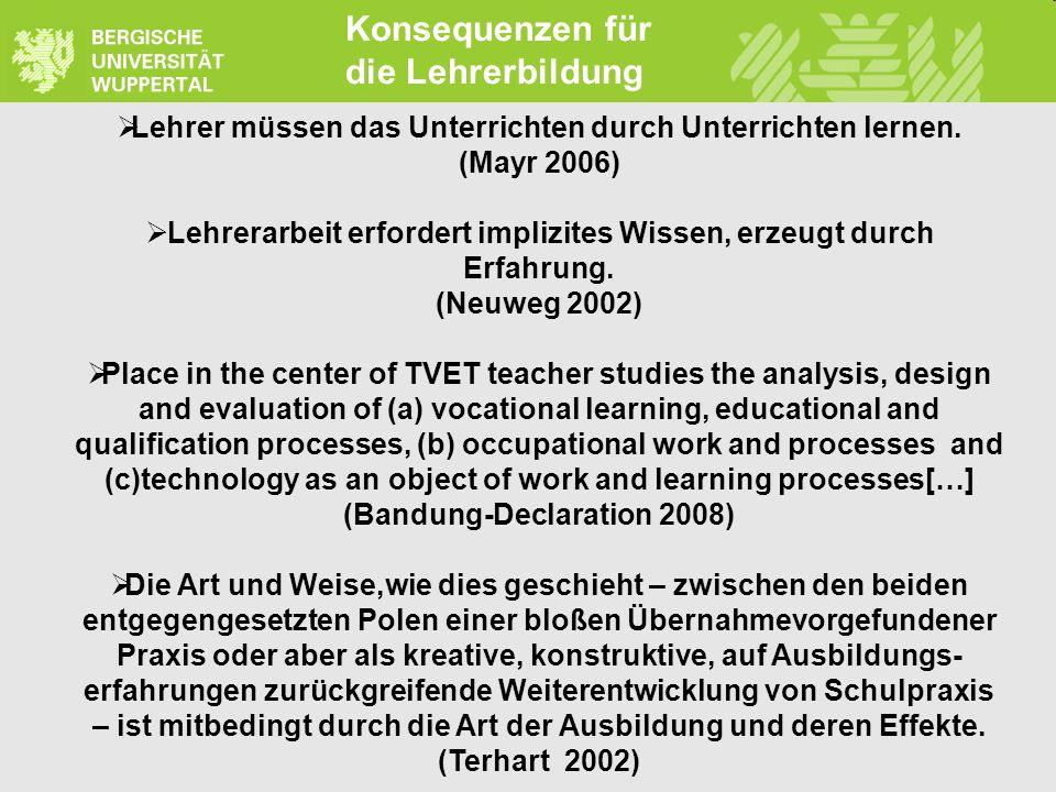 rdreher@uni-wuppertal.de www.tvd-edu.com Konsequenzen für die Lehrerbildung Lehrer müssen das Unterrichten durch Unterrichten lernen. (Mayr 2006) Lehr