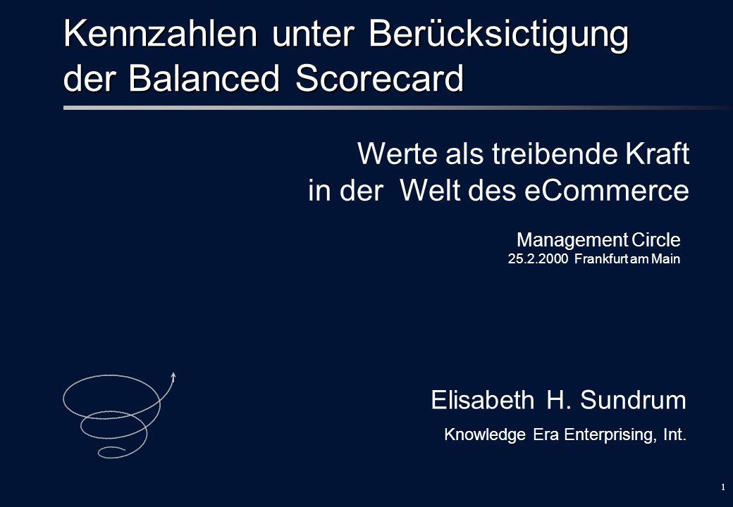 1 Kennzahlen unter Berücksictigung der Balanced Scorecard Werte als treibende Kraft in der Welt des eCommerce Management Circle 25.2.2000 Frankfurt am Main Elisabeth H.