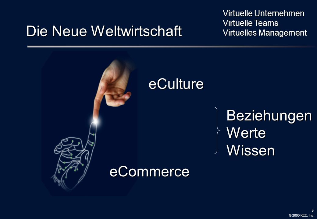 2 Working Wired Wisely Value Values Valuing eCommerce eCulture eService eBusiness eTeaming Supply Clusters Knowledge Management Portals Virtual Commun