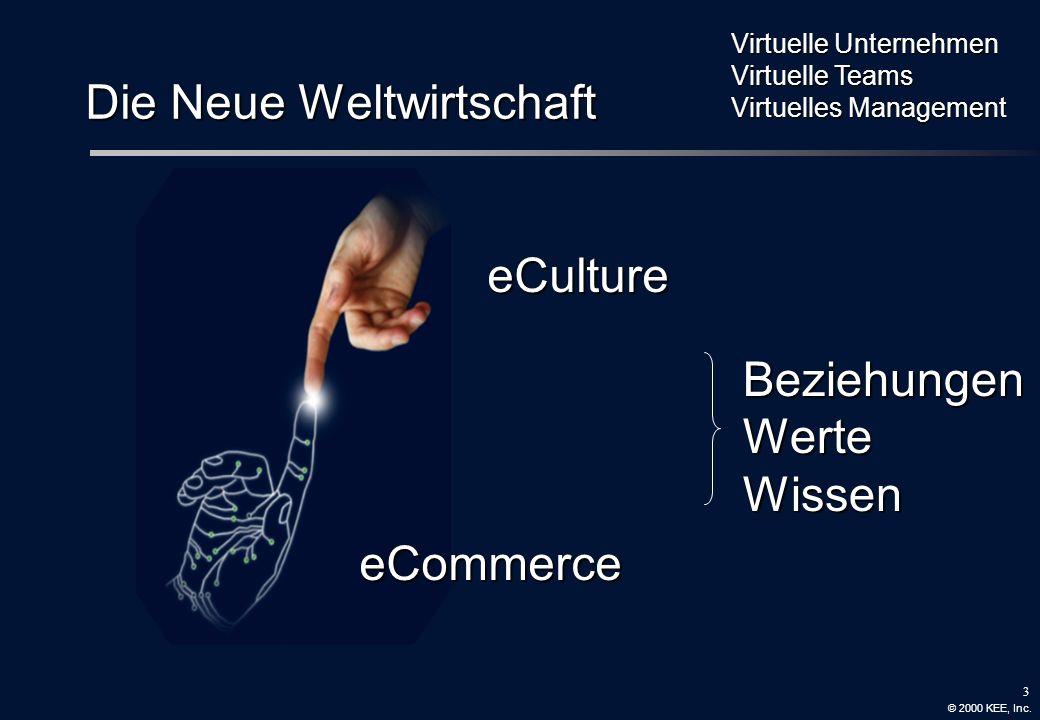 3 Die Neue Weltwirtschaft eCulture eCommerce BeziehungenWerteWissen Virtuelle Unternehmen Virtuelle Teams Virtuelles Management © 2000 KEE, Inc.