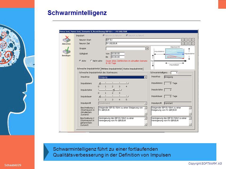 Copyright SOFTMARK AG Schaubild 29 Schwarmintelligenz Schwarmintelligenz führt zu einer fortlaufenden Qualitätsverbesserung in der Definition von Impu