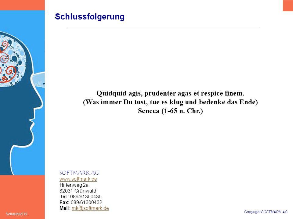 Copyright SOFTMARK AG Schaubild 32 SOFTMARK AG www.softmark.de Hirtenweg 2a 82031 Grünwald Tel.: 089/61300430 Fax: 089/61300432 Mail: mk@softmark.demk