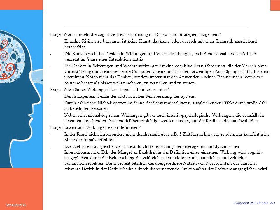 Copyright SOFTMARK AG Schaubild 35 Frage: Worin besteht die cognitive Herausforderung im Risiko- und Strategiemanagement? - Einzelne Risiken zu benenn