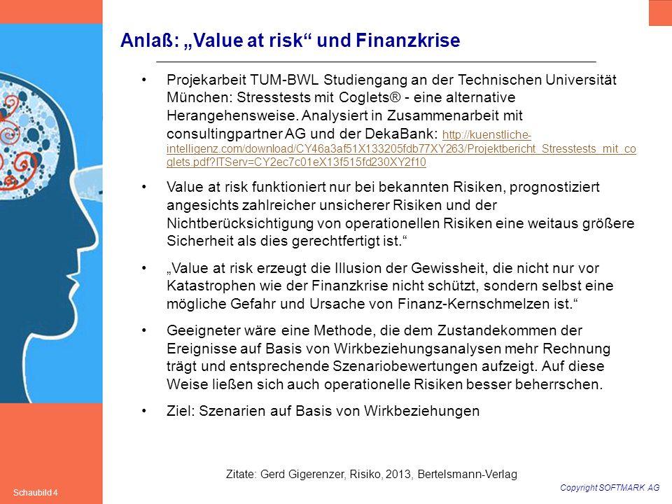 Copyright SOFTMARK AG Schaubild 4 Anlaß: Value at risk und Finanzkrise Projekarbeit TUM-BWL Studiengang an der Technischen Universität München: Stress