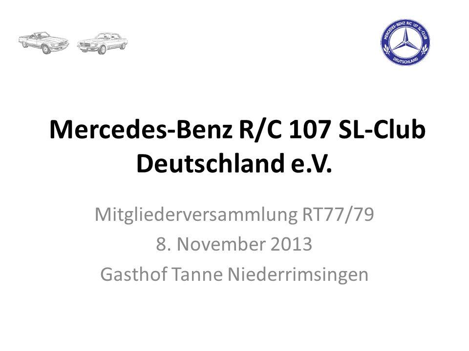 Mercedes-Benz R/C 107 SL-Club Deutschland e.V. Mitgliederversammlung RT77/79 8. November 2013 Gasthof Tanne Niederrimsingen
