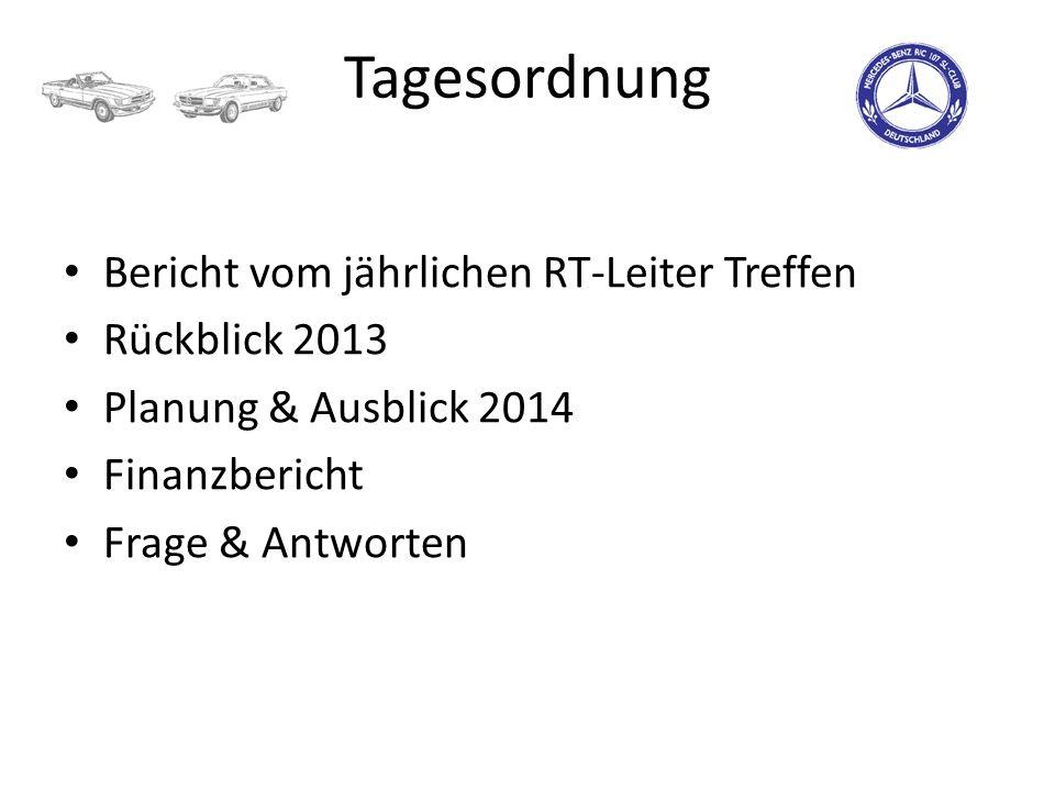 Tagesordnung Bericht vom jährlichen RT-Leiter Treffen Rückblick 2013 Planung & Ausblick 2014 Finanzbericht Frage & Antworten
