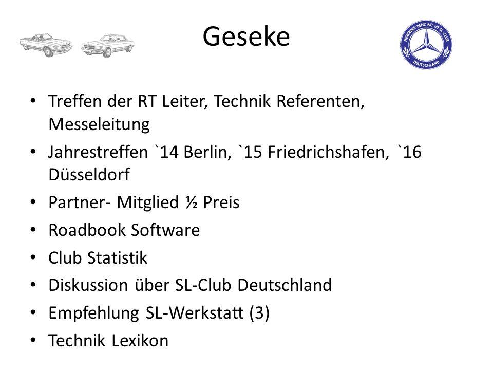 Geseke Treffen der RT Leiter, Technik Referenten, Messeleitung Jahrestreffen `14 Berlin, `15 Friedrichshafen, `16 Düsseldorf Partner- Mitglied ½ Preis