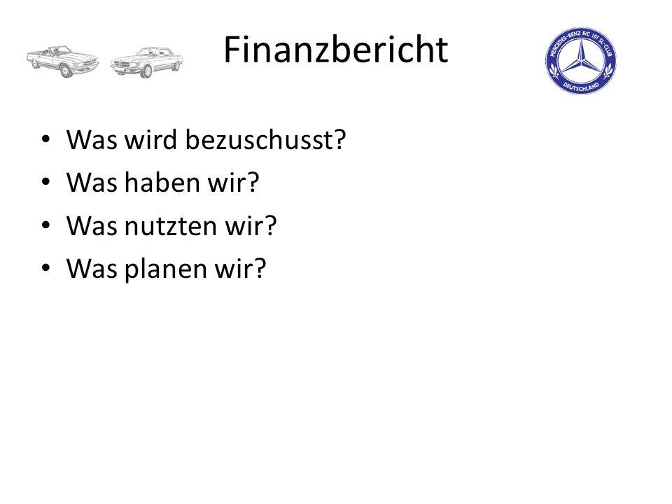 Finanzbericht Was wird bezuschusst? Was haben wir? Was nutzten wir? Was planen wir?