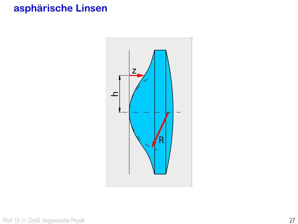 Prof. Dr. H. Graßl, Angewandte Physik 27 asphärische Linsen