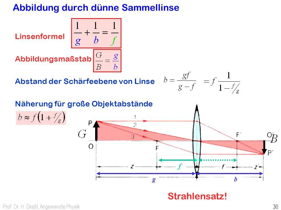 Prof. Dr. H. Graßl, Angewandte Physik 30 Abbildung durch dünne Sammellinse Linsenformel Abbildungsmaßstab Abstand der Schärfeebene von Linse Näherung