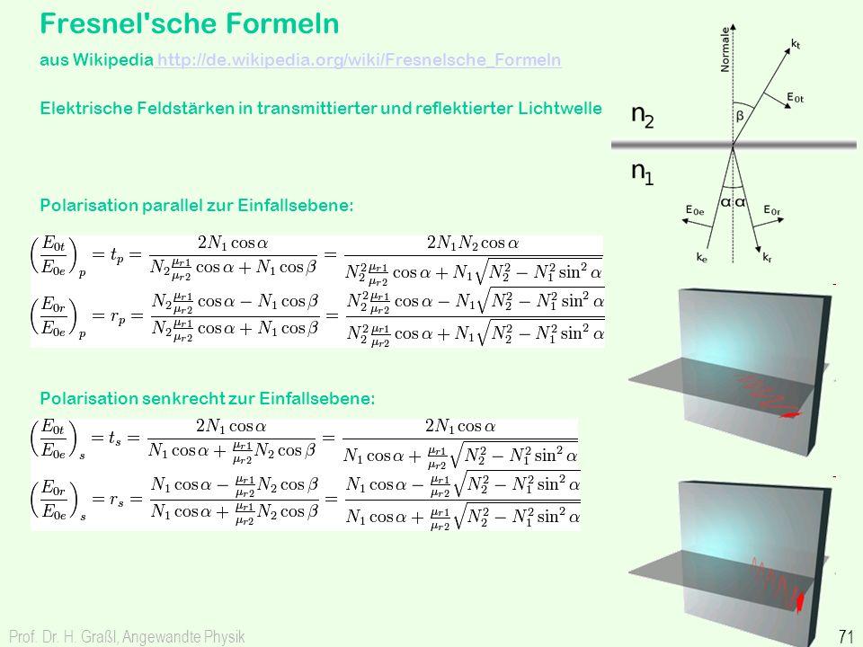 Prof. Dr. H. Graßl, Angewandte Physik 71 Fresnel'sche Formeln aus Wikipedia http://de.wikipedia.org/wiki/Fresnelsche_Formeln http://de.wikipedia.org/w
