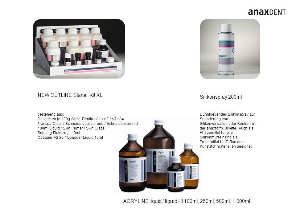 Silikonspray 200ml Dünnfließendes Silikonspray zur Separierung von Silikonvorwällen oder Kontern in der anaxform Küvette.