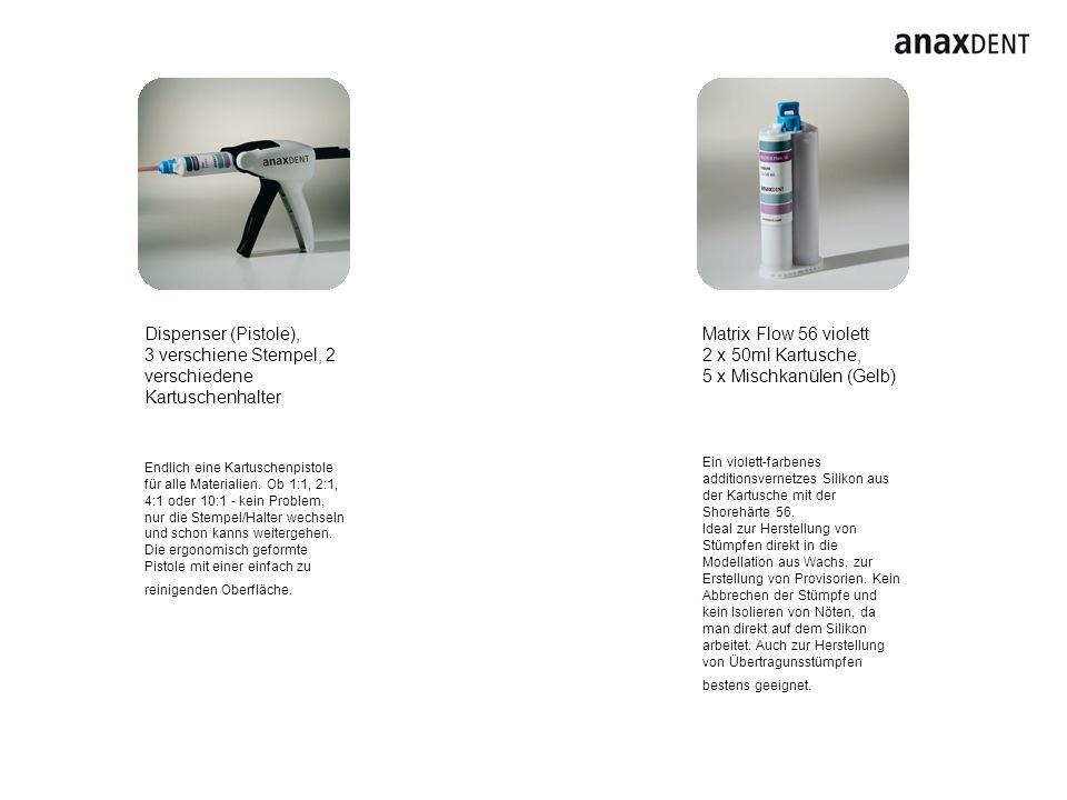 Dispenser (Pistole), 3 verschiene Stempel, 2 verschiedene Kartuschenhalter Endlich eine Kartuschenpistole für alle Materialien.