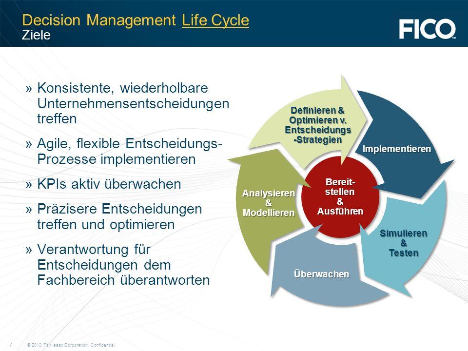 © 2010 Fair Isaac Corporation. Confidential. 7 Decision Management Life Cycle Ziele »Konsistente, wiederholbare Unternehmensentscheidungen treffen »Ag