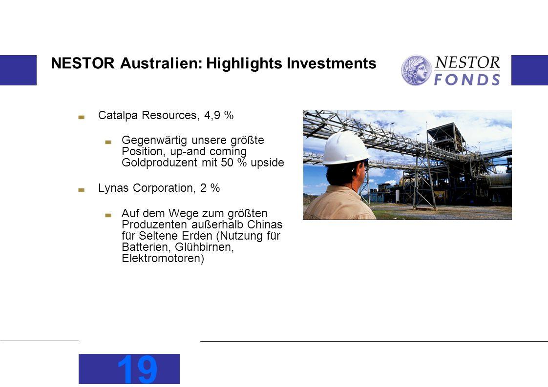 19 NESTOR Australien: Highlights Investments Catalpa Resources, 4,9 % Gegenwärtig unsere größte Position, up-and coming Goldproduzent mit 50 % upside