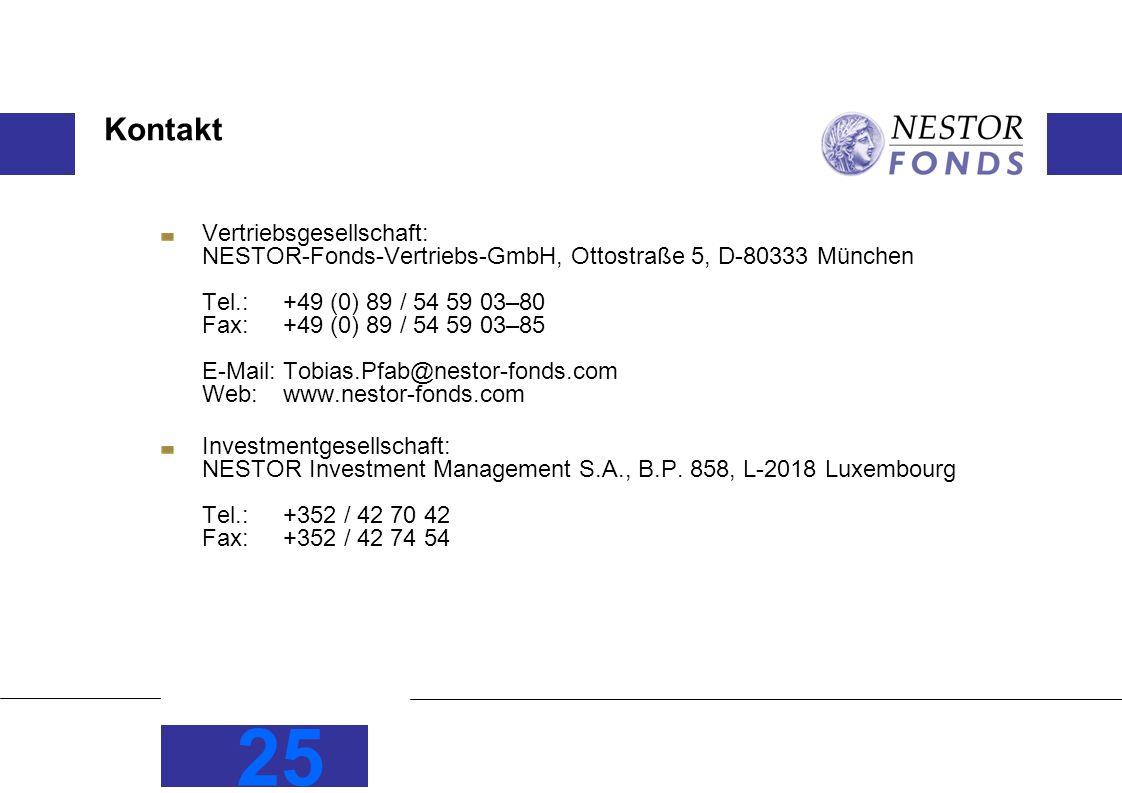 25 Kontakt Vertriebsgesellschaft: NESTOR-Fonds-Vertriebs-GmbH, Ottostraße 5, D-80333 München Tel.: +49 (0) 89 / 54 59 03–80 Fax:+49 (0) 89 / 54 59 03–85 E-Mail: Tobias.Pfab@nestor-fonds.com Web:www.nestor-fonds.com Investmentgesellschaft: NESTOR Investment Management S.A., B.P.