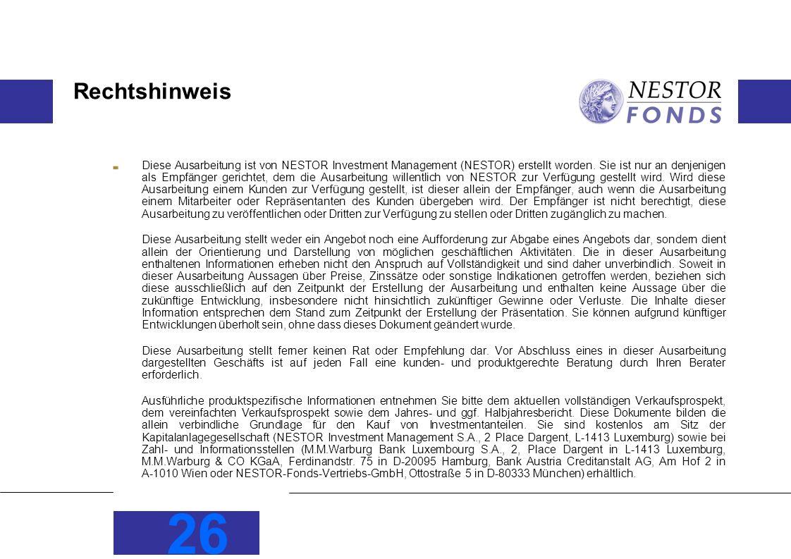26 Rechtshinweis Diese Ausarbeitung ist von NESTOR Investment Management (NESTOR) erstellt worden.
