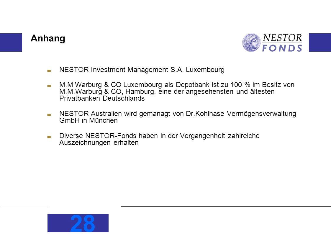 28 Anhang NESTOR Investment Management S.A. Luxembourg M.M Warburg & CO Luxembourg als Depotbank ist zu 100 % im Besitz von M.M.Warburg & CO, Hamburg,