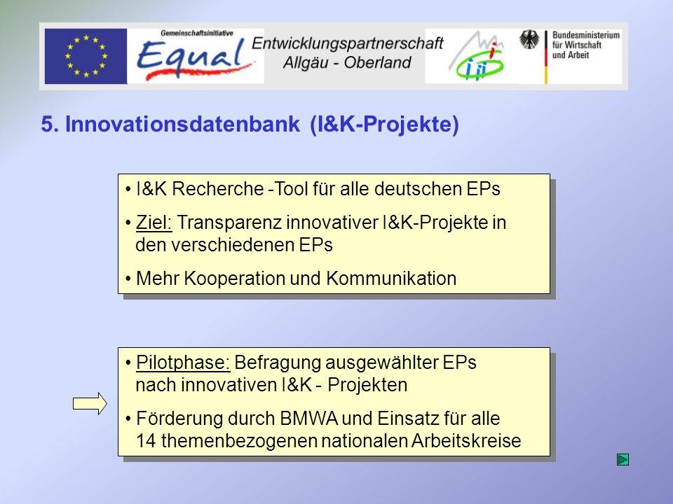 I&K Recherche -Tool für alle deutschen EPs Ziel: Transparenz innovativer I&K-Projekte in den verschiedenen EPs Mehr Kooperation und Kommunikation I&K Recherche -Tool für alle deutschen EPs Ziel: Transparenz innovativer I&K-Projekte in den verschiedenen EPs Mehr Kooperation und Kommunikation Pilotphase: Befragung ausgewählter EPs nach innovativen I&K - Projekten Förderung durch BMWA und Einsatz für alle 14 themenbezogenen nationalen Arbeitskreise Pilotphase: Befragung ausgewählter EPs nach innovativen I&K - Projekten Förderung durch BMWA und Einsatz für alle 14 themenbezogenen nationalen Arbeitskreise 5.