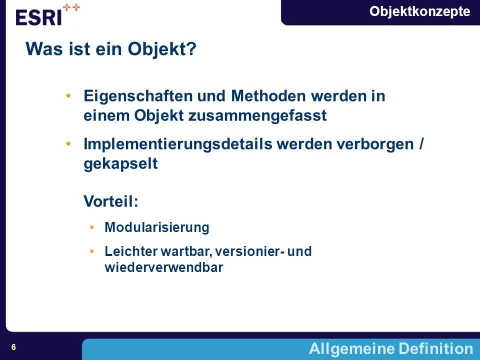 Objektkonzepte 7 Allgemeine Definition Grundlage von Objekten Operationen / Messages Klassen Vererbung Polymorphismus
