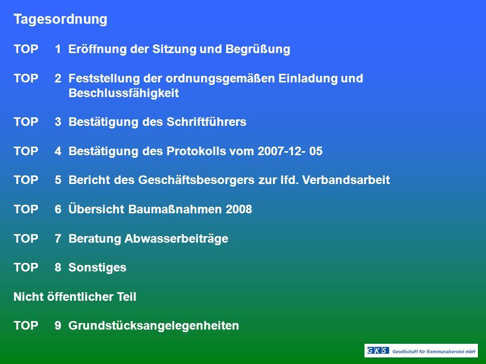 Tagesordnung TOP 1 Eröffnung der Sitzung und Begrüßung TOP 2 Feststellung der ordnungsgemäßen Einladung und Beschlussfähigkeit TOP 3 Bestätigung des Schriftführers TOP 4 Bestätigung des Protokolls vom 2007-12- 05 TOP 5 Bericht des Geschäftsbesorgers zur lfd.