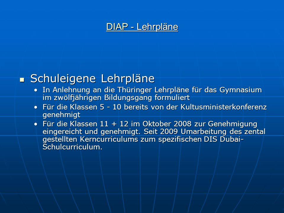 DIAPDIAP - Lehrpläne DIAP Schuleigene Lehrpläne Schuleigene Lehrpläne In Anlehnung an die Thüringer Lehrpläne für das Gymnasium im zwölfjährigen Bildu