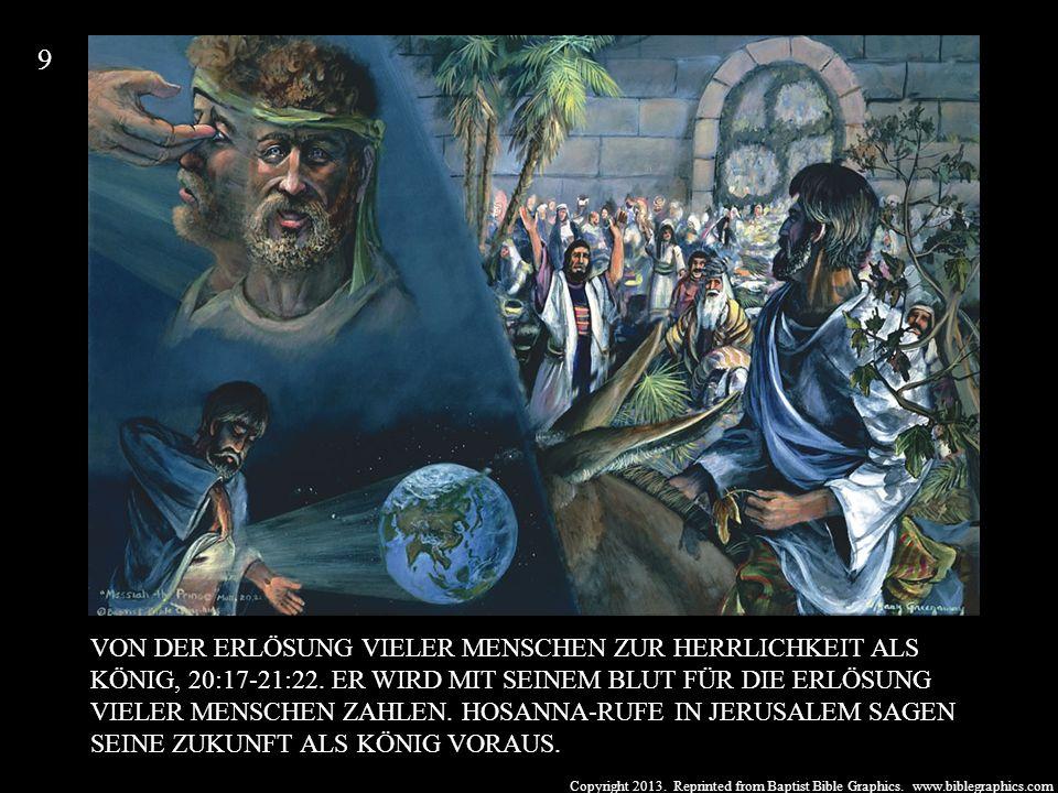 Copyright 2013. Reprinted from Baptist Bible Graphics. www.biblegraphics.com VON DER ERLÖSUNG VIELER MENSCHEN ZUR HERRLICHKEIT ALS KÖNIG, 20:17-21:22.