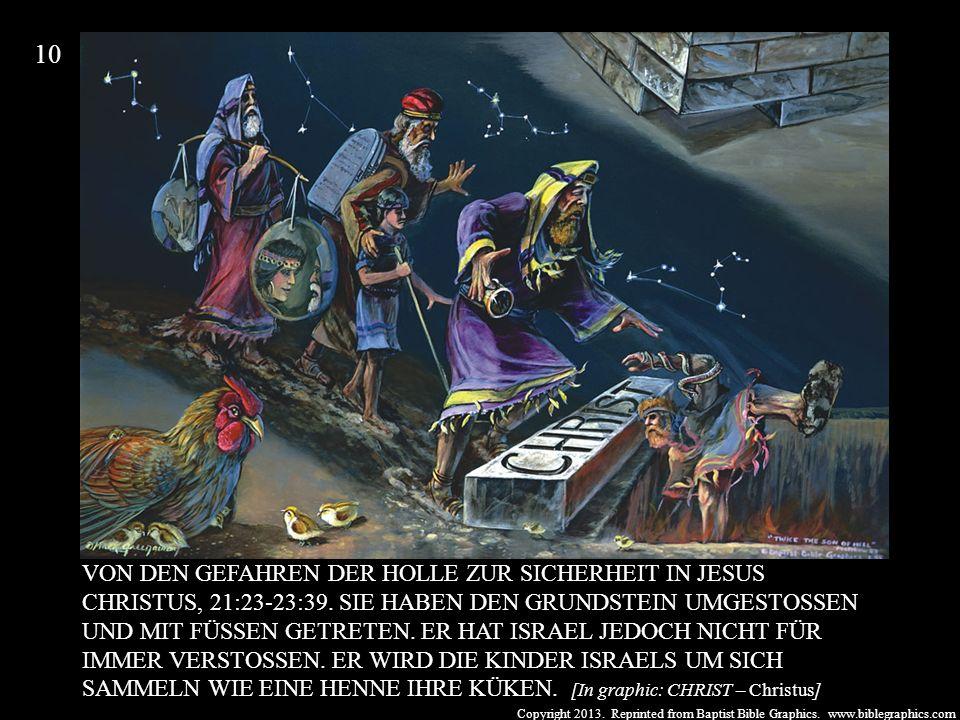 Copyright 2013. Reprinted from Baptist Bible Graphics. www.biblegraphics.com VON DEN GEFAHREN DER HÖLLE ZUR SICHERHEIT IN JESUS CHRISTUS, 21:23-23:39.