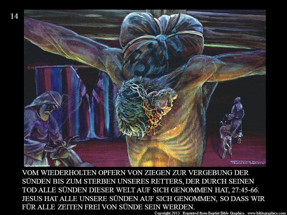 Copyright 2013. Reprinted from Baptist Bible Graphics. www.biblegraphics.com VOM WIEDERHOLTEN OPFERN VON ZIEGEN ZUR VERGEBUNG DER SÜNDEN BIS ZUM STERB