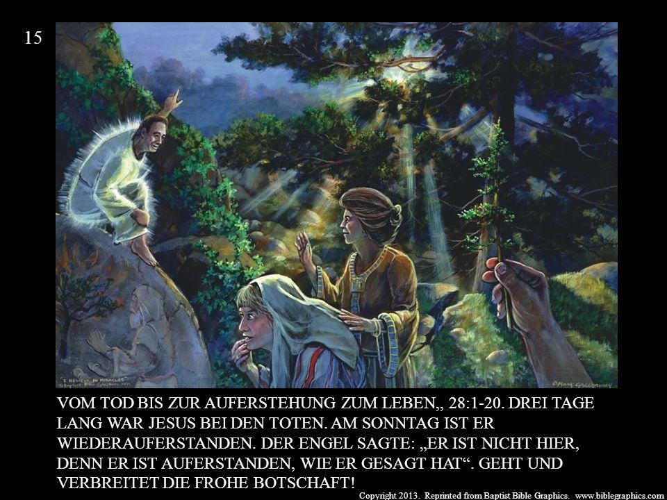 Copyright 2013. Reprinted from Baptist Bible Graphics. www.biblegraphics.com VOM TOD BIS ZUR AUFERSTEHUNG ZUM LEBEN,, 28:1-20. DREI TAGE LANG WAR JESU