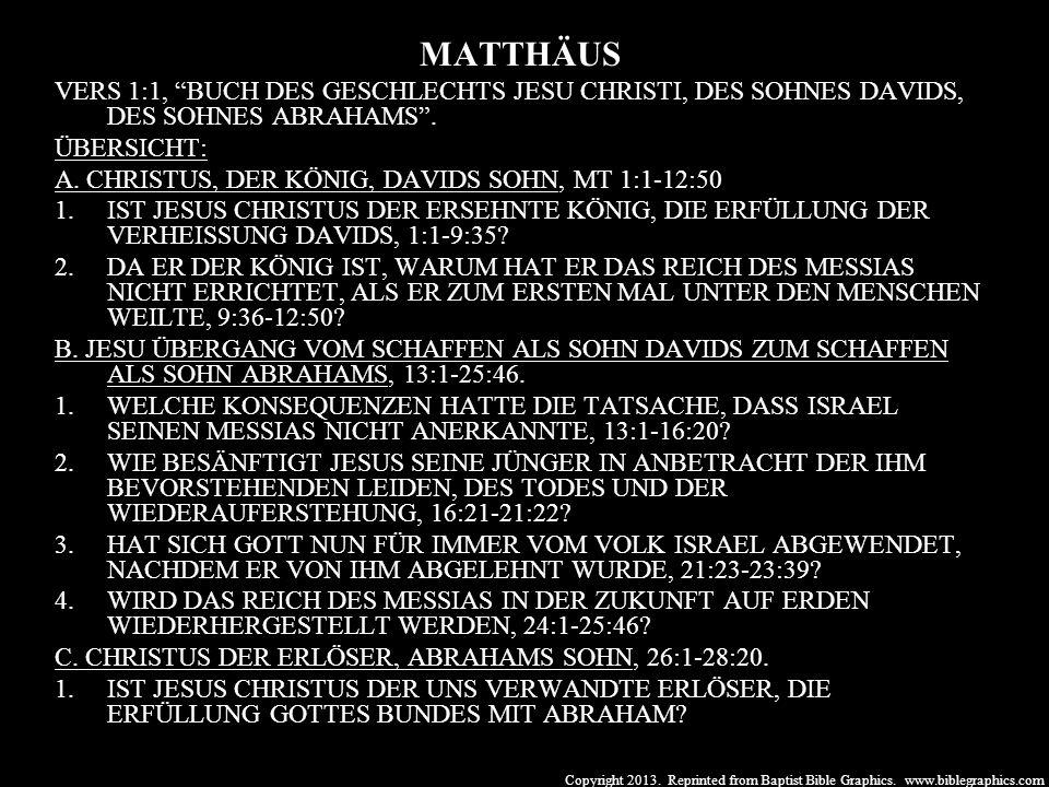Copyright 2013. Reprinted from Baptist Bible Graphics. www.biblegraphics.com MATTHÄUS VERS 1:1, BUCH DES GESCHLECHTS JESU CHRISTI, DES SOHNES DAVIDS,
